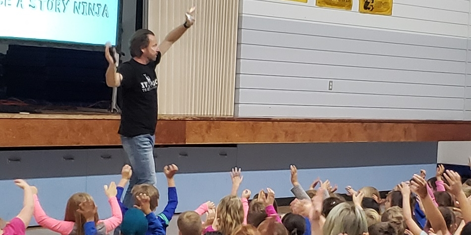 Sigmund Brouwer visits WES – Rock and Roll Literacy