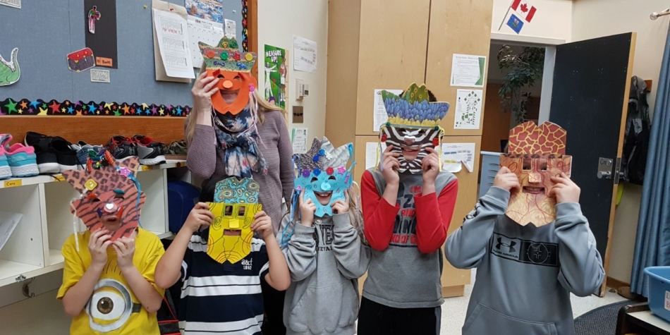 3K makes masks on a very chilly day