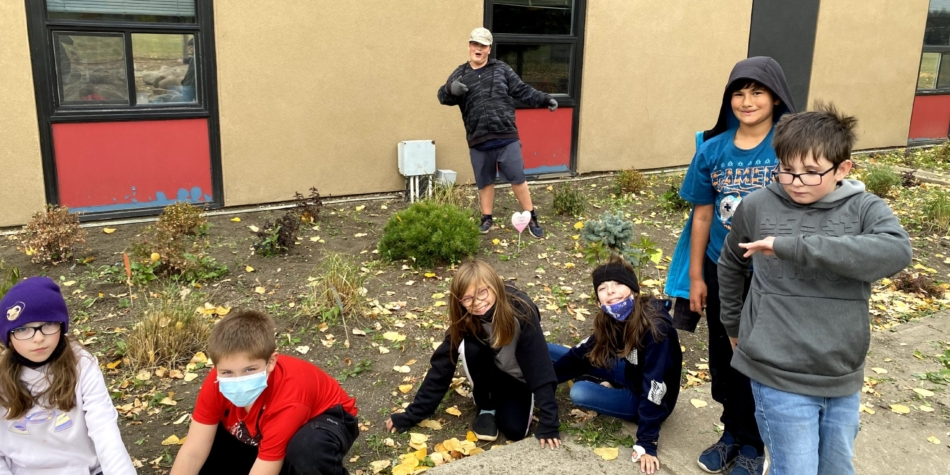 Cleaning up the flower beds